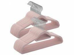 Cintres antidérapants - pliables - crochet rotatif - 50 pièces - rose
