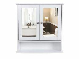 Armoire de salle de bain avec deux miroirs - 56x13x58 cm - blanc