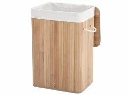 Panier à linge avec couvercle - sac en coton - 72 litres - 40x60x30 cm - bambou