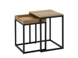 Deuxième chance - Lot de 2 tables d'appoint - 55 cm de haut - brun clair