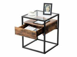 Table d'appoint - finition verre - 43x54x43 cm - vintage brun
