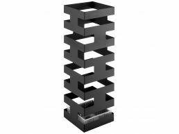 Bac à parapluie métallique design - carré - avec réservoir - noir