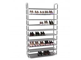Grande étagère à chaussures - 10 niveaux - métal - 100x175x28 cm - noir