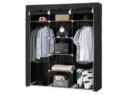 Grande armoire XXL - tissu et métal - 150x175x45 cm - noir