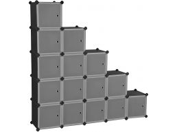 Niches modulables - avec 16 cubes - 153x153x31 - noir