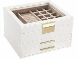 Boîte à bijoux - avec couvercle en verre - 3 niveaux - 2 tiroirs - blancs