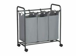 Deuxième chance - Panier à linge mobile - 3 compartiments de 44 litres chacun - 77x41x81,5 cm - gris