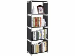 Bibliothèque - 4 niches - 50x147x30 cm - noir