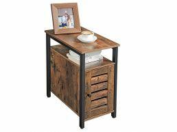 Table de chevet - aspect industriel - 30x60x50 cm - vintage brun