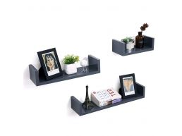 Lot de 3 étagères murales - rectangulaire - 60x10x15 cm - gris