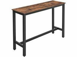 Table repas haute - look industriel - 120x100x40 cm - brun vintage