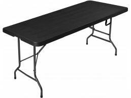 Table de jardin pliable - aspect bois - 180x75x74 cm - noir