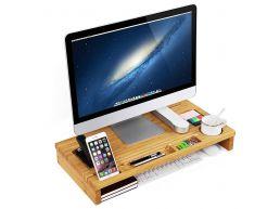 Rehausseur d'écran - pour pc ou laptop - 60x8,5x30 cm - bambou