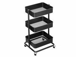 Chariot de cuisine - métal - 3 niveaux - noir