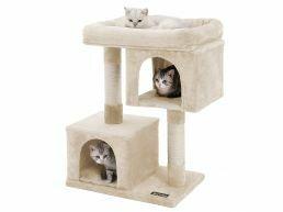 Arbre à chat - avec maison et panier - 60x84x40 cm - beige