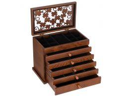 Deuxième chance - Boîte à bijoux - vintage - 6 niveaux - brun foncé