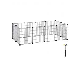 Deuxième chance - Cage métallique - pour cochon d'Inde, lapin, chiot - 143x46x73 cm - noir