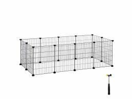 Cage métallique - pour cochon d'Inde, lapin, chiot - 143x46x73 cm - noir