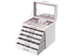 Boîte à bijoux XL - avec miroir - 6 niveaux - blanc