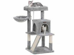 Deuxième chance - Arbre à chat - multiniveaux - avec planches à griffe - 48x96x48 cm - gris clair