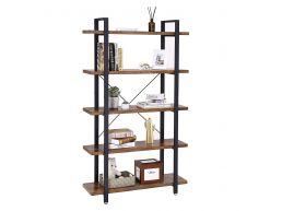 Bibliothèque - style industriel - 5 étagères - 105x177,5x33,5 cm - brun vintage