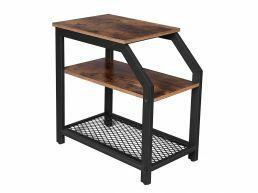 Deuxième chance - Table d'appoint - look industriel - 3 niveaux - 59,2x59,2x36 cm - brun vintage