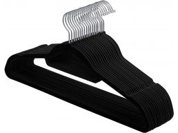 Cintres antidérapants - pliable - crochet rotatif - 20 pièces - noir