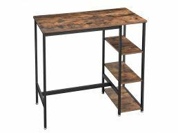 Table repas haute - vintage - structure métallique - 109x100x60 cm - brun vintage
