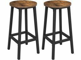 Lot de 2 tabourets de bar, chaises de cuisine avec cadre en acier stable, hauteur 65 cm, rond, style industriel, brun-noir vintage