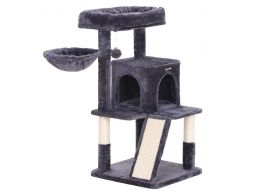 Deuxième chance - Arbre à chat - multiniveaux - avec planches à griffe - 48x96x48 cm - gris foncé