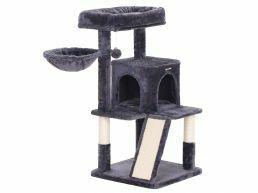 Arbre à chat - multiniveaux - avec planches à griffe - 48x96x48 cm - gris foncé