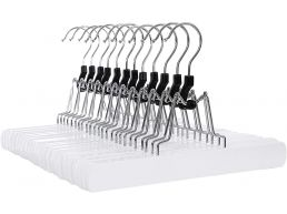 Cintres antidérapants - crochet rotatif - 12 pièces - bois massif - blanc