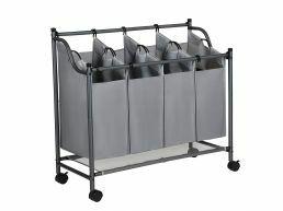 Deuxième chance - Panier à linge mobile - 4 compartiments de 35 litres chacun - 81x88x39 cm - gris