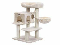 Arbre à chat de luxe - avec maison et panier - 60x112x70 cm - beige