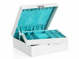 Boîte à bijoux - avec 2 niveaux - blanc
