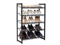 Meuble à chaussures - 5 grilles réglables - métal - 74x104x30,7 cm - noir