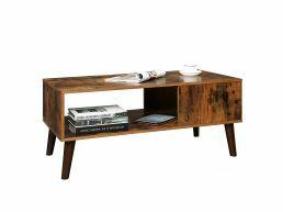 Table basse - retro - avec niche - 100x45x50 cm - brun vintage