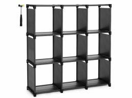 Bibliothèque - 9 compartiments carrés - tissu - 105x105x30 cm - noir