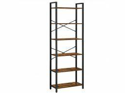 Bibliothèque - à 6 niveaux - aspect industriel - 66x186x30 cm - brun vintage