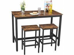 Set table de bar - 1 table de bar et 2 tabourets de bar - 120x60x90 cm - brun vintage