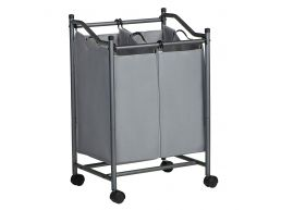 Panier à linge mobile - 2 compartiments de 45 litres - 51x80x41 cm - gris