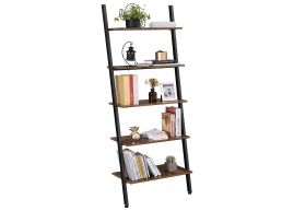 Bibliothèque - en forme d'échelle - 5 étagères en bois - 64x186x34 cm - brun vintage