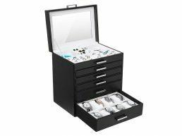 Deuxième chance - Boîte à bijoux XL - avec miroir - 6 niveaux - noir