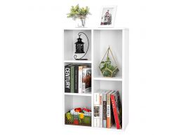 Bibliothèque - avec 5 compartiments - 50x80x24 cm - blanc