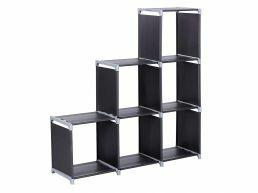 Bibliothèque - 6 compartiments - 105x10x29 cm - noir