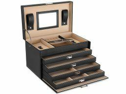 Boîte à bijoux XL - avec miroir - avec 5 niveaux - noir