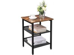 Table d'appoint - avec 2 tablettes ajustables - look industriel - vintage brun