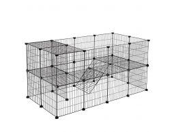 Cage métallique - 2 niveaux - pour cochon d'Inde, lapin, chiot - 143x71x73 cm - noir