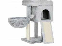 Arbre à chat - avec panier et maison - 43x66x33 cm - gris clair