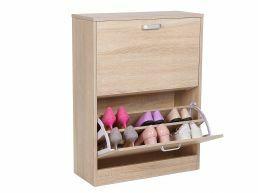 Meuble à chaussures - 2 portes pliantes - 60x83,5x24,5 cm - brun naturel